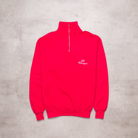 Vintage Champion Poppin' Red Quarter Zip (M)