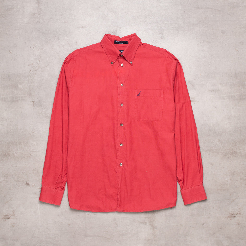 90s Nautica Red Corduroy Shirt (S)