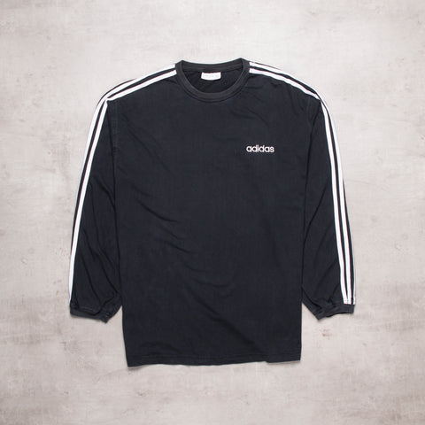 90s Adidas Black Out Long Sleeve Tee (L)