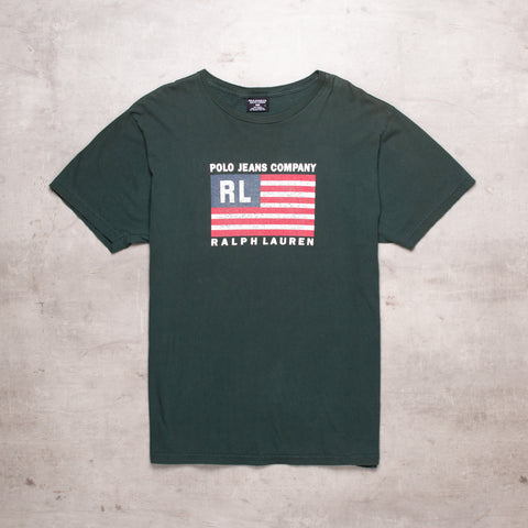 90s Ralph Lauren Green Spell Out Tee (L)