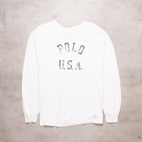 90s Ralph Lauren Off White Long Sleeve (L)
