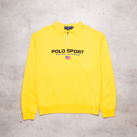 90s Polo Sport Yellow Quarter Zip (XL)
