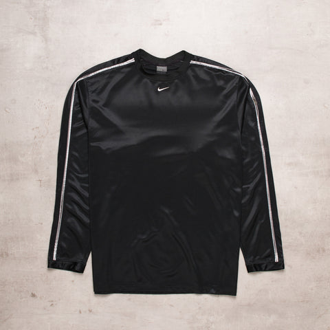 00s Nike Black Out Centre Swoosh Long Sleeve (L)