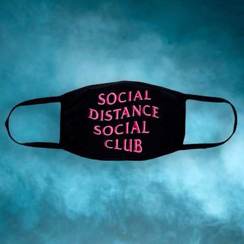 Social Distance Embroidered Face Mask