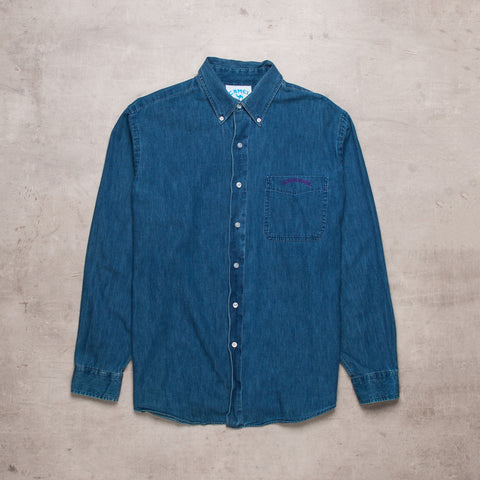 90s Camel Deep Indigo Denim Shirt (L)