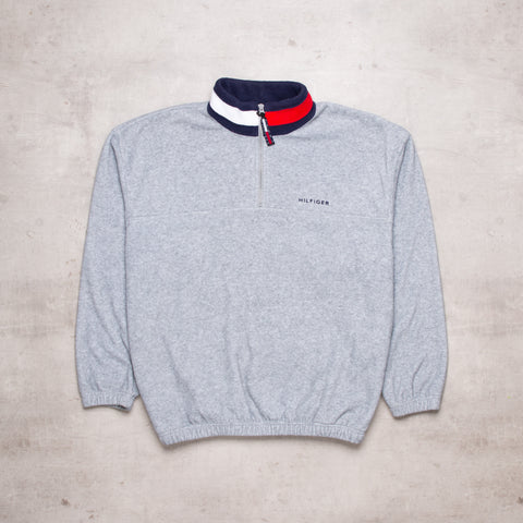 90s Tommy Hilfiger Grey Fleece Quarter Zip (L)