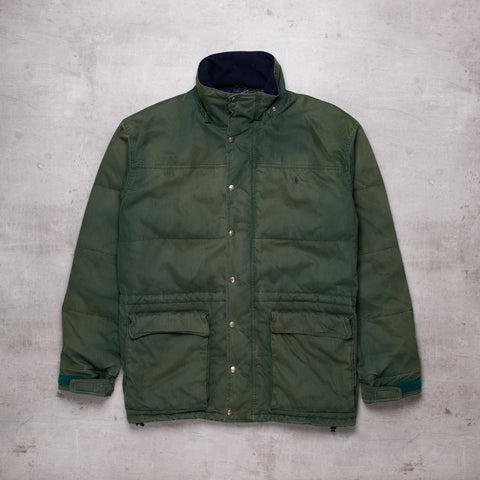 90s Ralph Lauren Washed Green Puffer Jacket (XL)