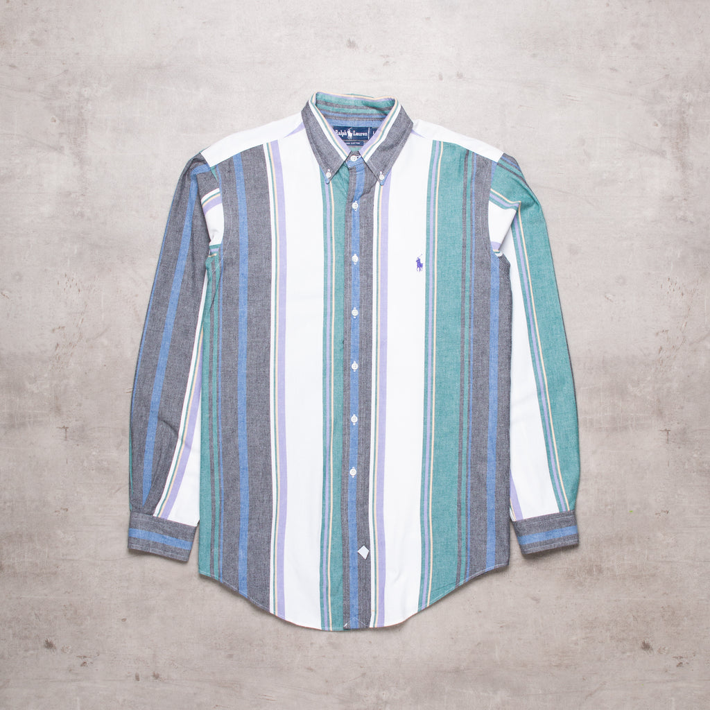90s Ralph Lauren Pastel Striped Shirt (L)