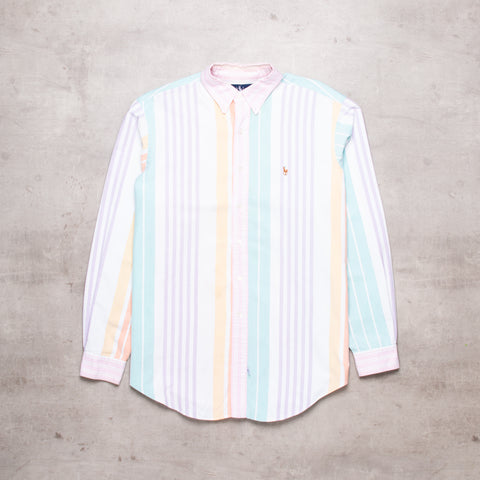 90s Ralph Lauren Pastel Striped Shirt (XL)