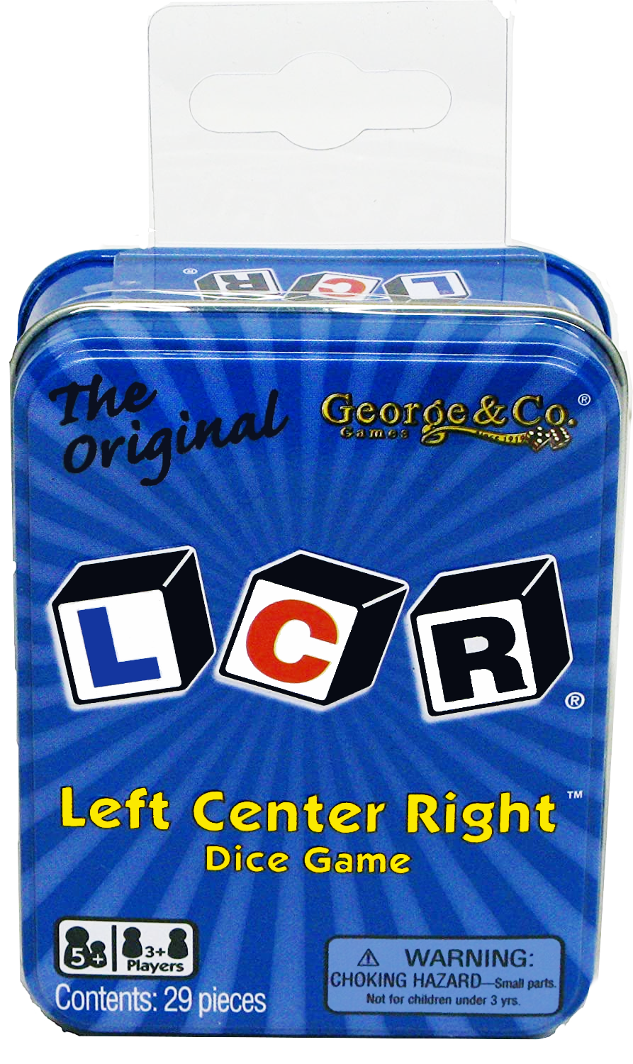 The Original LCR Left Center Right Dice Game Blue Tin George /& Company NEW
