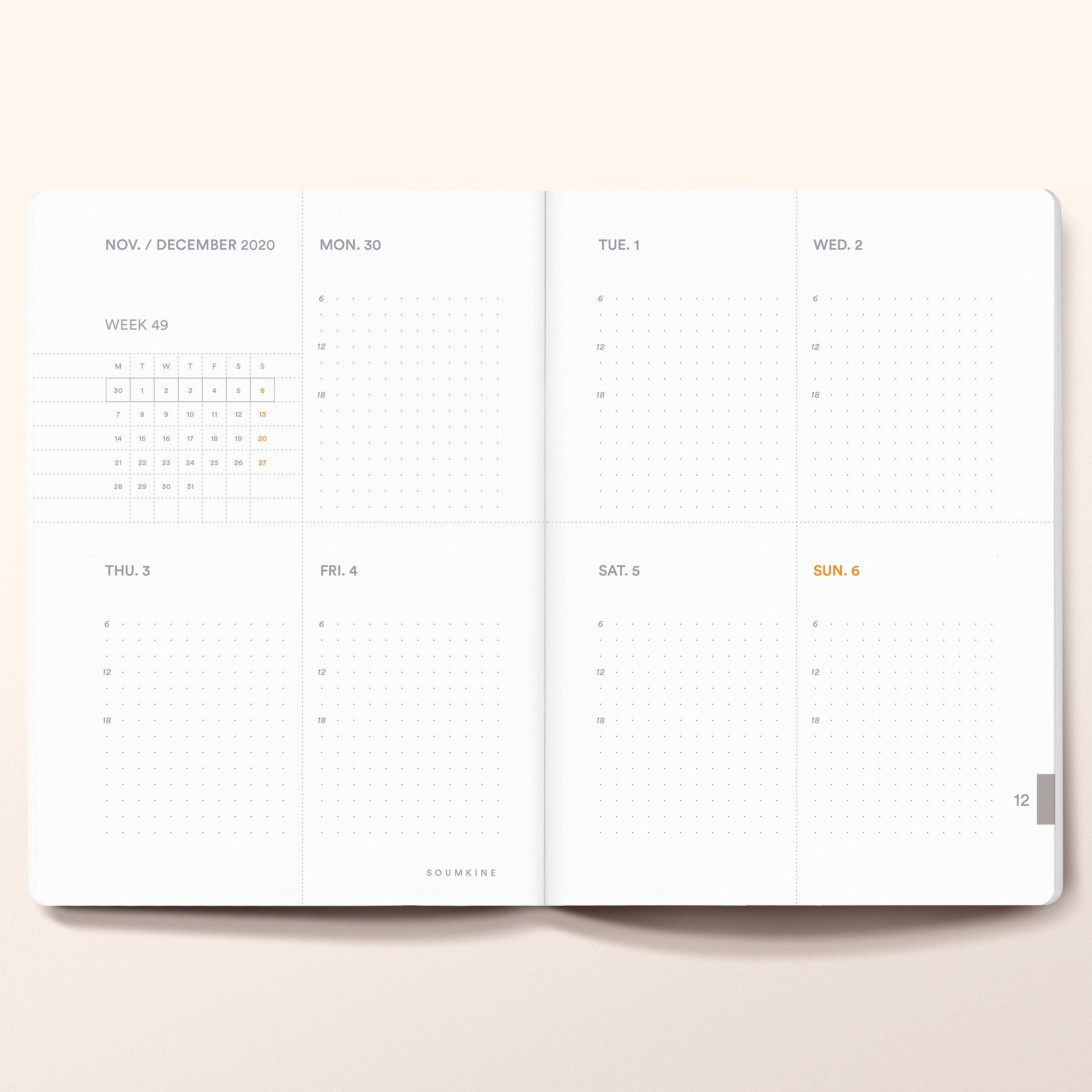 """Untitled 01"" by Anna Chask. 2021 Weekly planner B6 Size. 100% Cotton Paper"