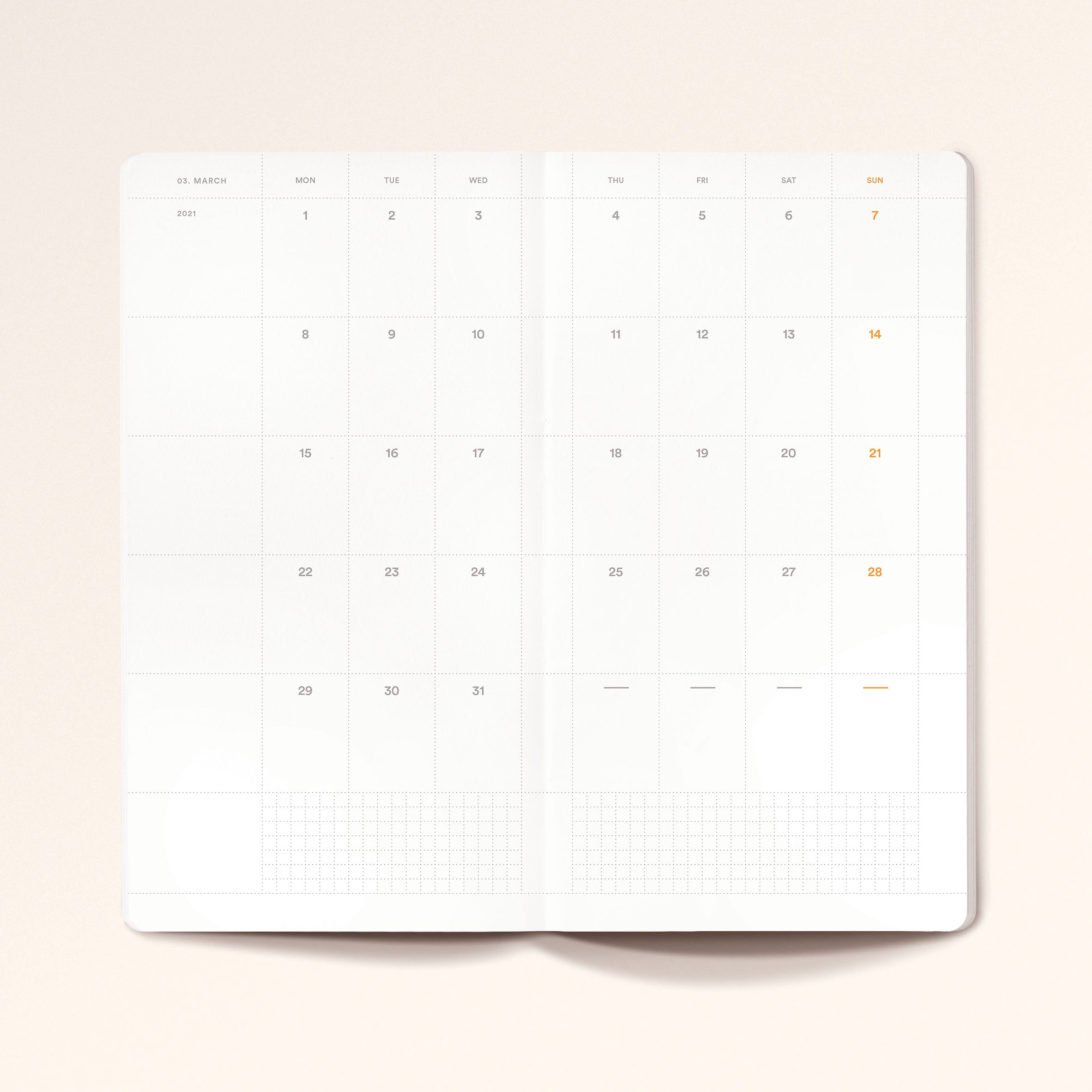 """Untitled 04"" by Anna Chask. 2021 Weekly planner Traveler's Slim Size. 100% Cotton Paper. Vol. 1 & 2."