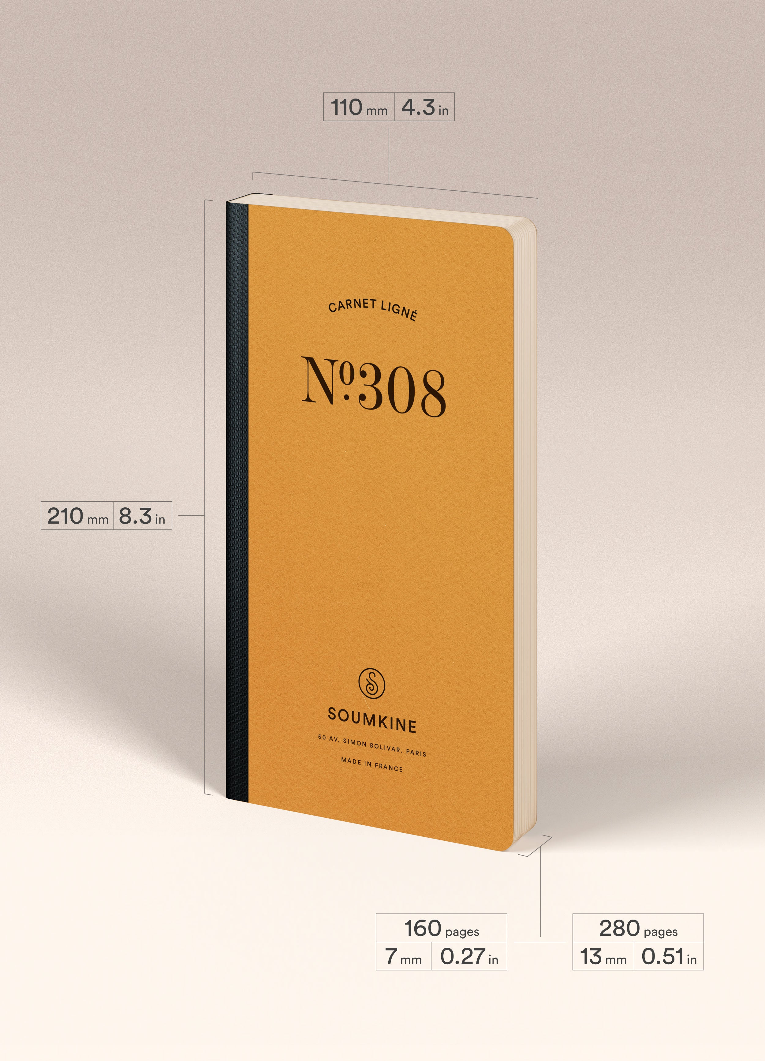 N.308 (RULED) Notebook. Slim / Traveler's notebook size