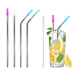 Silver Stainless Steel Drinking Straws W/ Bonus Silicone Tips (2 Curved & 2 Straight)