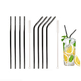 Black Stainless Steel Drinking Straws (4 Pack)