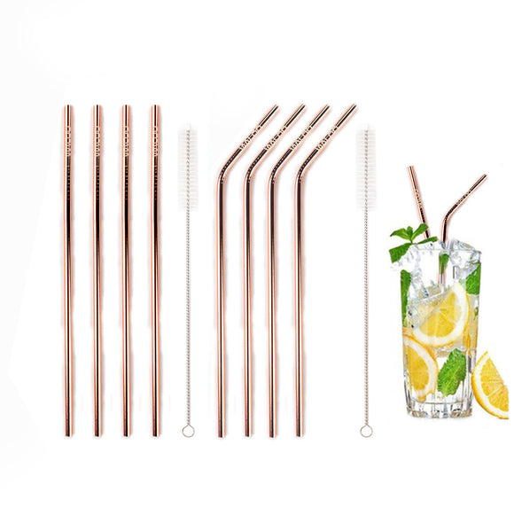 Rose Gold Stainless Steel Drinking Straws (4 Pack)