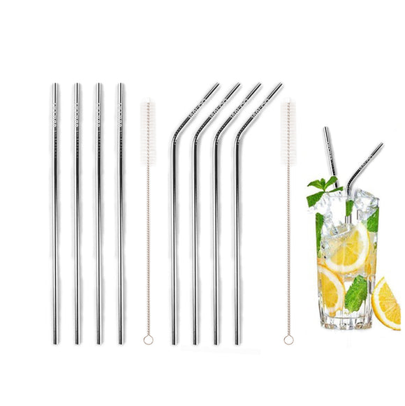 Silver Stainless Steel Drinking Straws (4 Pack)