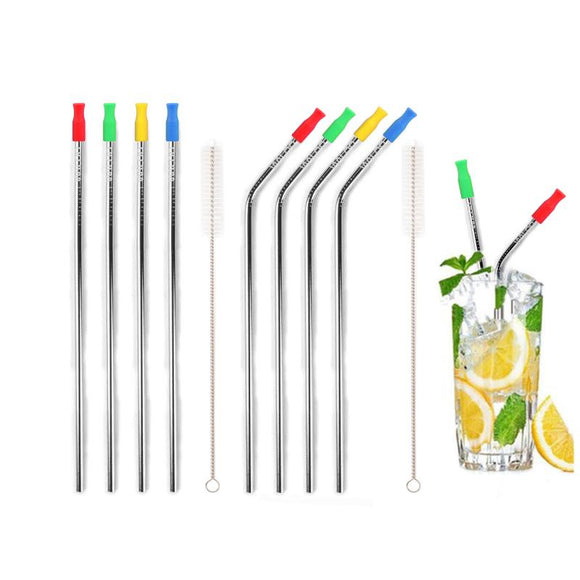 Silver Stainless Steel Drinking Straws W/ Silicone Tips (4 Pack)