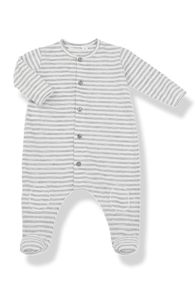 Pol Stripe jumpsuit with feet light grey 1 + in the family