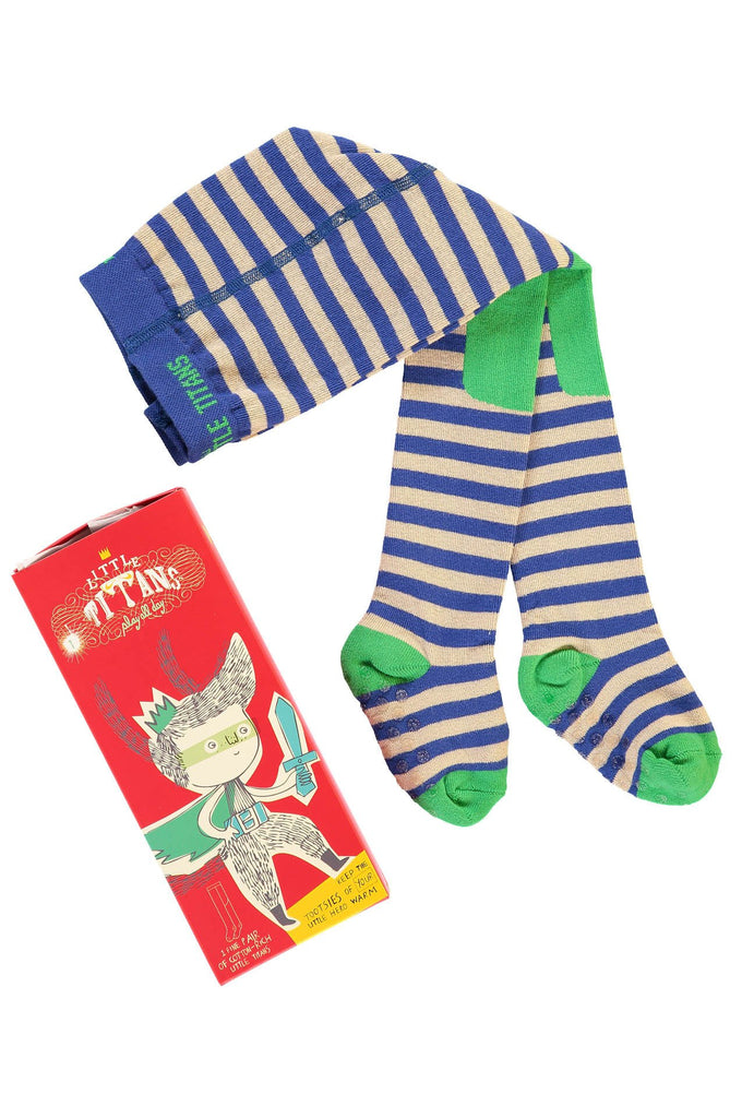 Apple-a-day Stripe tights little titans by Braveling
