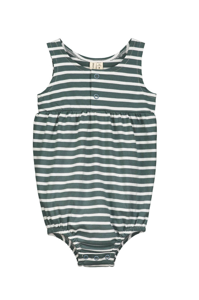 Baby Summer Onesie Blue Grey/White Stripe Gray Label