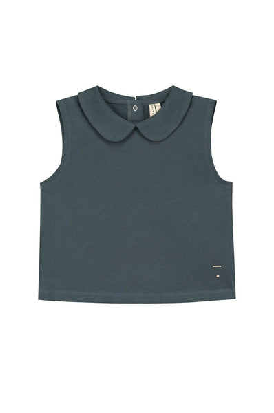 Gray Label Collar Tank Top Blue Grey