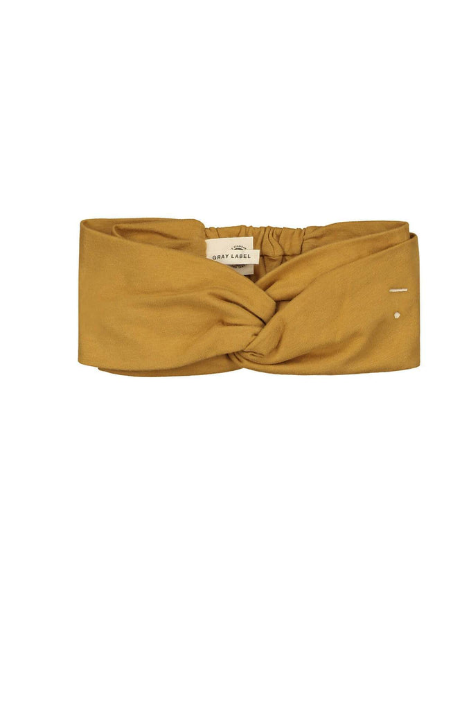 Twist Headband Mustard Gray Label