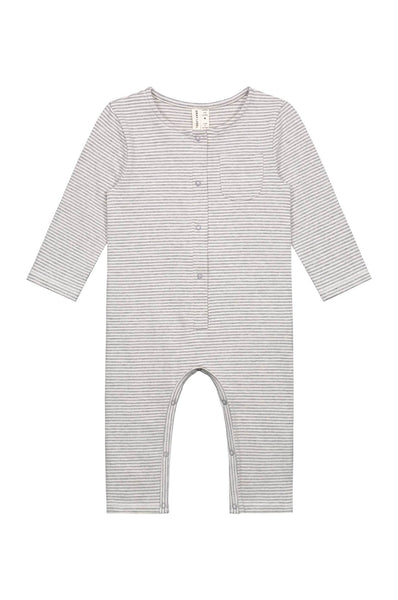 Gray Label Baby L/S Playsuit Grey Melange/ Cream Stripe
