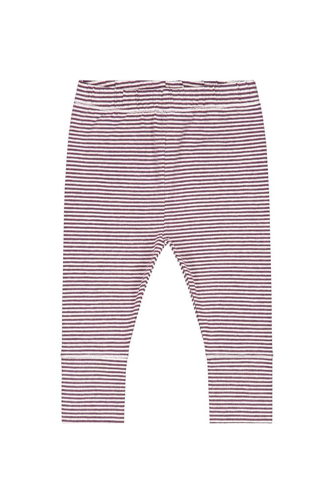 Baby Leggings Plum/ Cream Stripe Gray Label