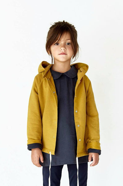 Gray Label Hooded Cardigan with Snaps Mustard