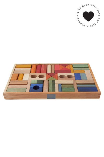 Rainbow blocks, 54 pieces Wooden Story