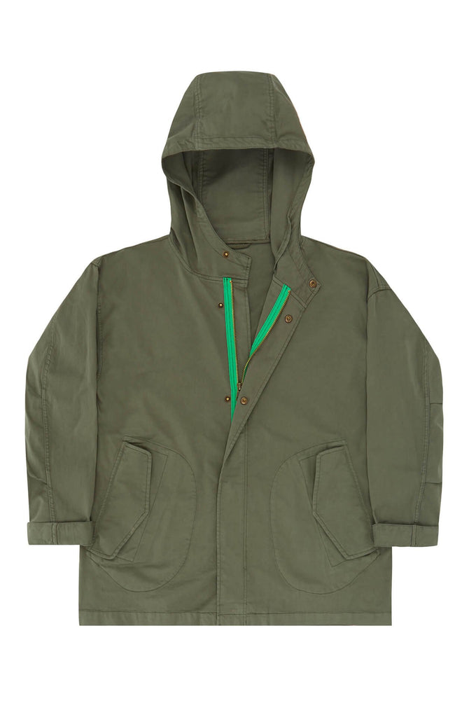 Parka in green with bright green zip ABC123me