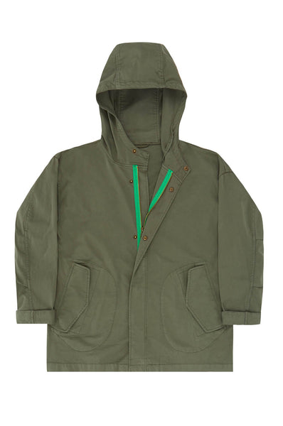 Parka in green with bright green zip