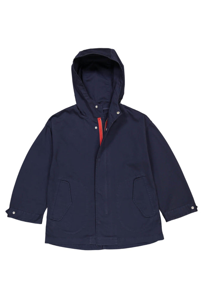 Parka in navy with bright red zip