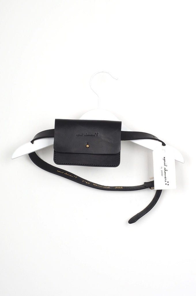 Small Leather Belt with Pouch Black