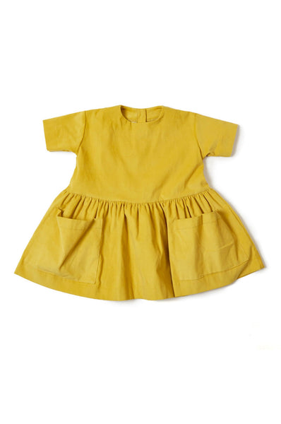 Pocket Dress Yellow Corduroy