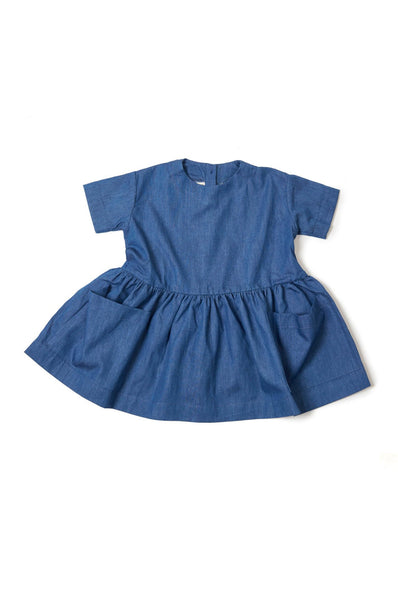 Pocket Dress Short Sleeve Blue Denim As We Grow