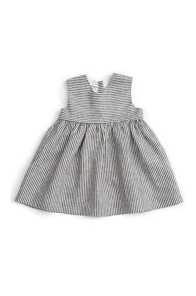 SLEEVELESS DRESS STRIPED LINEN AS WE GROW
