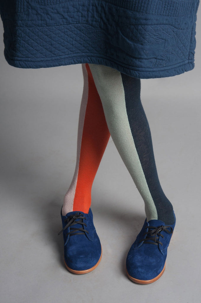 Vertical Multicolour Tights Blue