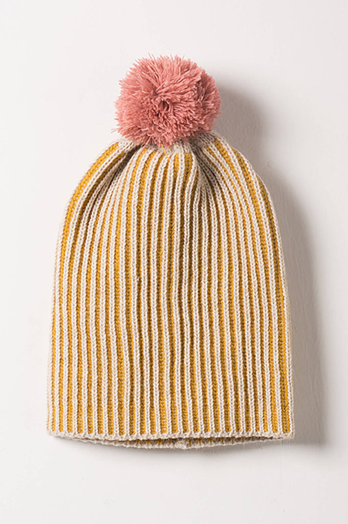 Bobo Choses Yellow Bicolour Beanie