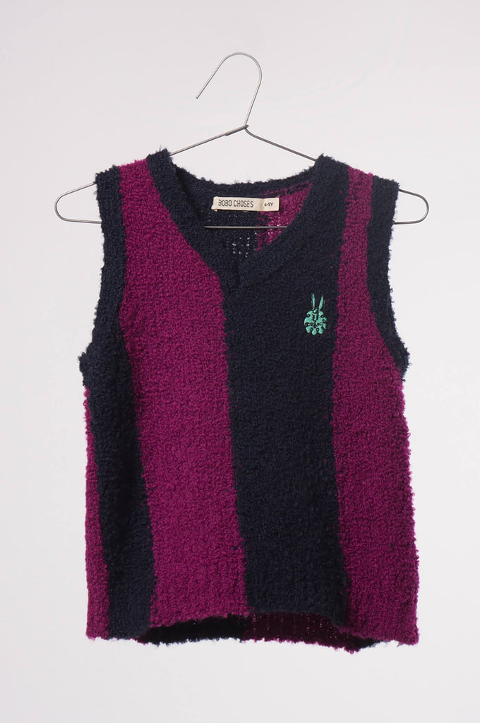 Bobo Choses  Knitted Vest Stripes Blue