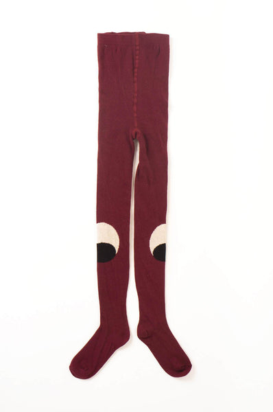 Bobo Choses Eyes Tights  Burgundy