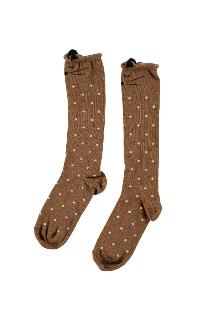 Buho Animal Knee Socks Camel