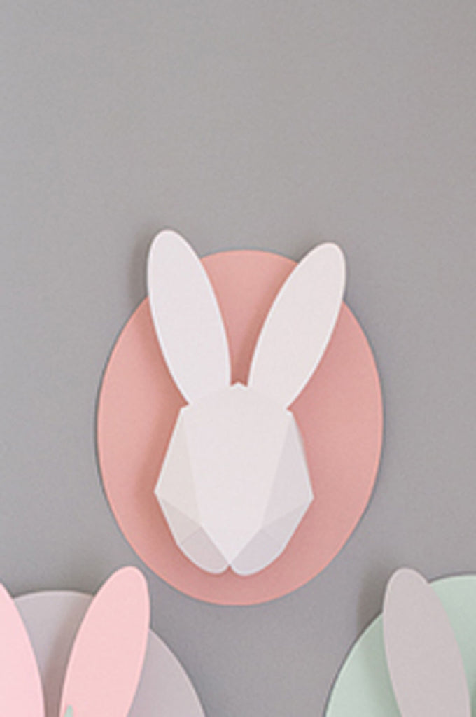 Bunny white on pink
