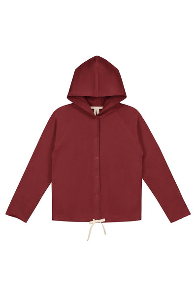 Gray Label Hooded Cardigan with Snaps Burgundy