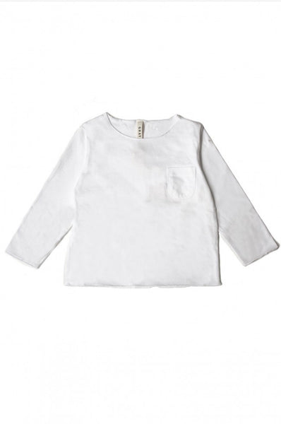 L/S Pocket Tee White Gray Label