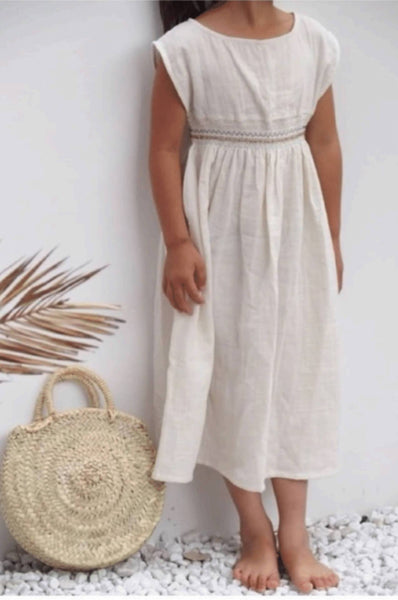 SMOCK DRESS CRU NATURAL