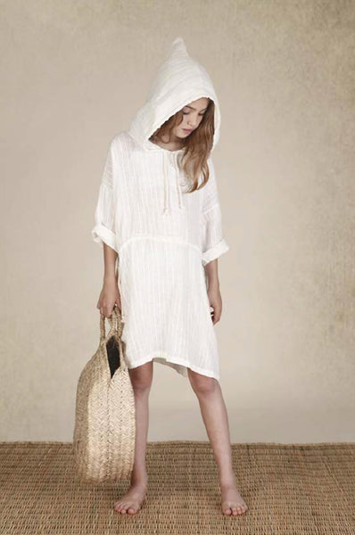 Hooded tunic off-white