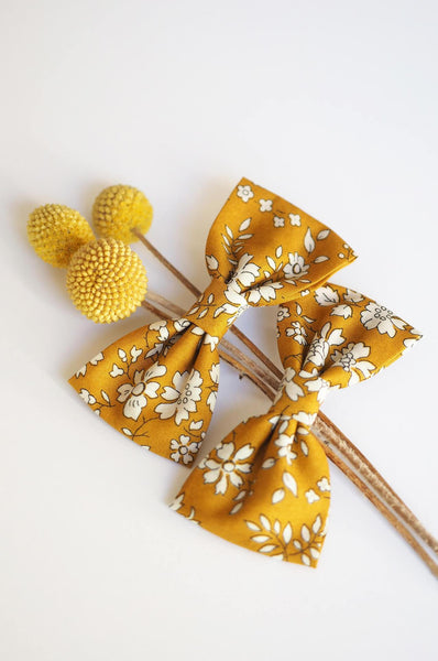 Luciole et Petit Pois 2 Long bow hair clips Liberty mustard