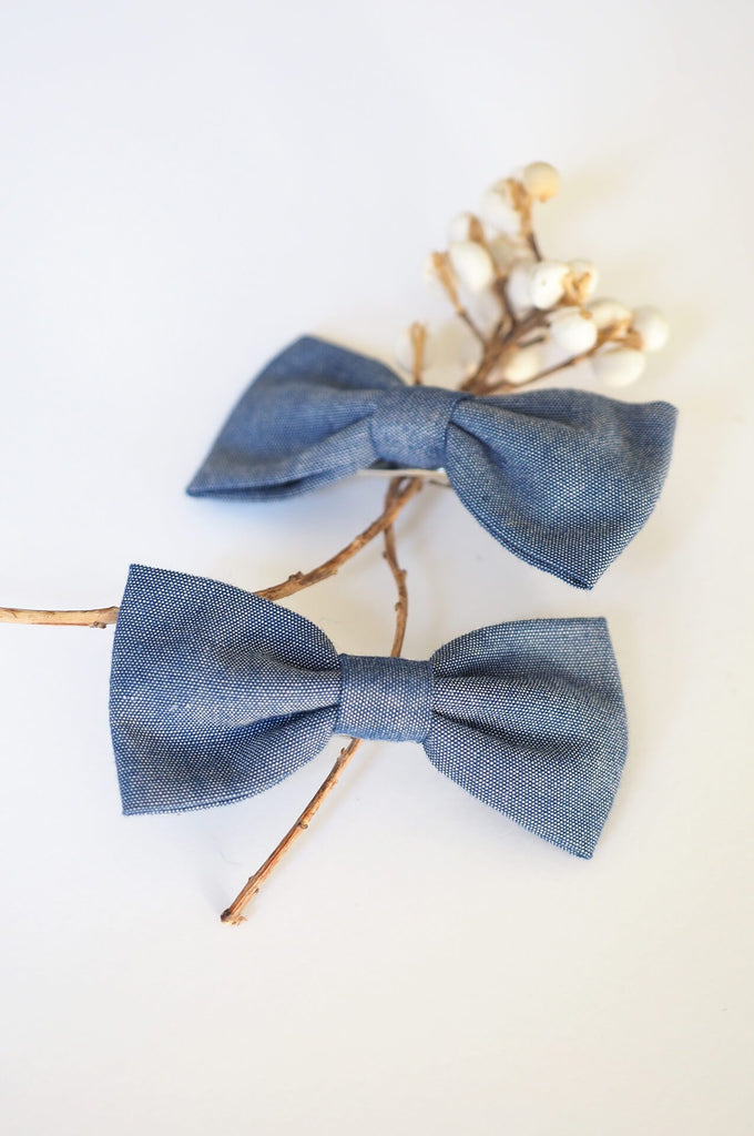 2 Long bow hair clips jean Luciole et Petit Pois